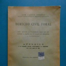 Libros antiguos: DERECHO CIVIL FORAL. JOSE CASTAN TOBEÑAS. APENDICE. 1935. Lote 100153675