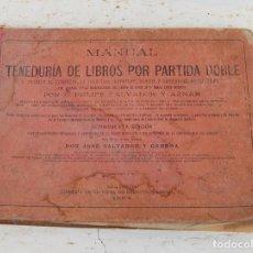 Libros antiguos: LIBRO MANUAL DE TENEDURIA DE LIBROS POR PARTIDA DOBLE DE JOSE SALVADOR Y GAMBOA 1894. Lote 100552951