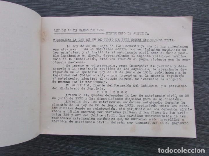 Libros antiguos: LEGISLACIÓN DEL REGISTRO CIVIL. LEYES Y ORDENES DEL NUEVO ESTADO ESPAÑOL. 1939. MECANOGRAFIADO. RARO - Foto 2 - 100726675