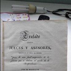 Libros antiguos: TRATADO SOBRE JUECES Y ASESORES. JOSE SANTALIZ, IMPRENTA D. LEON AMARITA, MADRID 1831. Lote 102149491
