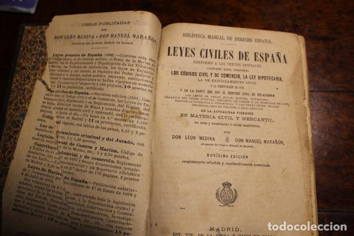 LIBRO LEYES CIVILES DE ESPAÑA AÑO 1898 LEON MEDINA MANUEL MARAÑON (Libros Antiguos, Raros y Curiosos - Ciencias, Manuales y Oficios - Derecho, Economía y Comercio)