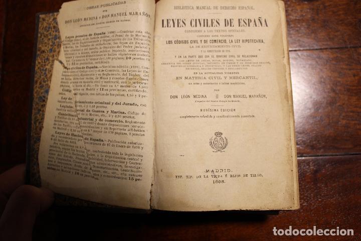 Libros antiguos: Libro leyes civiles de españa año 1898 leon medina manuel marañon - Foto 2 - 102536295