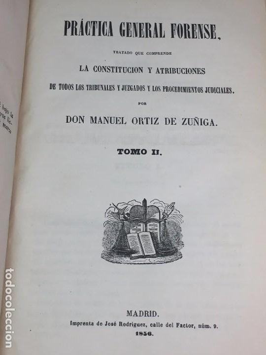 Libros antiguos: Practica General Forense Ortiz de Zúñiga 3 tomos buen estado 1856 leyes medicina judicial imp Madrid - Foto 9 - 102713151