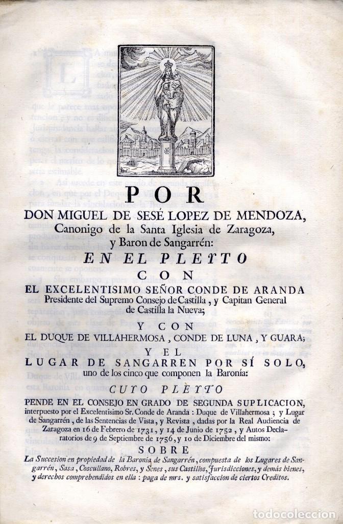 SESÉ LÓPEZ DE MENDOZA, M. DE. POR ...., CANÓNIGO DE LA SANTA IGLESIA DE ZARAGOZA Y BARÓN... 1771. (Libros Antiguos, Raros y Curiosos - Ciencias, Manuales y Oficios - Derecho, Economía y Comercio)