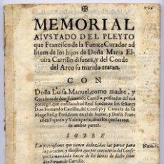 Libros antiguos: SALAZAR, GERÓNIMO SILVESTRE DE. MEMORIAL AJUSTADO DEL PLEYTO QUE FRANCISCO DE LA FUENTE... 1645.. Lote 103014875