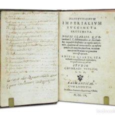 Libros antiguos: CHUNRADI VVOLFII [KONRAD WOLF].– INSTITUTIONUM IMPERIALIUM SUCCINCTA EROTEMATA. NOVIS CLARISS. 1609. Lote 103656743