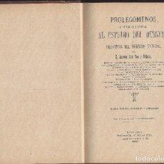 Libros antiguos: LIBRO PROLEGÓMENOS AL ESTUDIO DEL DERECHO Y PRINCIPIOS DEL DERECHO NATURAL. 1898. Lote 104260139