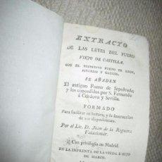 Libros antiguos: EXTRACTO DE LAS LEYES DEL FUERO VIEJO DE CASTILLA Y OTROS, JUAN DE LA REGUERA VALDELOMAR, 1798. Lote 106045403
