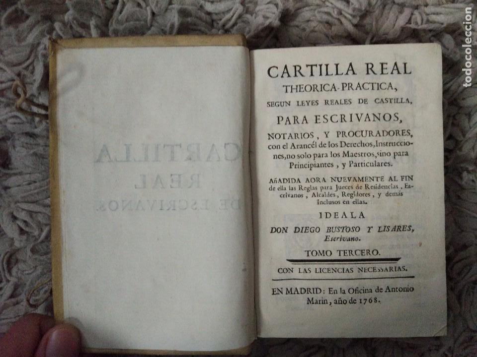 CARTILLA REAL THEORICA-PRACTICA PARA ESCRIVANOS. TOMO III. DIEGO BUSTOSO Y LISARES. 1768. PERGAMINO (Libros Antiguos, Raros y Curiosos - Ciencias, Manuales y Oficios - Derecho, Economía y Comercio)