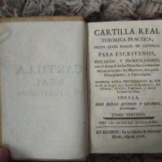 Libros antiguos: CARTILLA REAL THEORICA-PRACTICA PARA ESCRIVANOS. TOMO III. DIEGO BUSTOSO Y LISARES. 1768. PERGAMINO. Lote 106083563