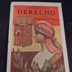 Libros antiguos: LIBRO NOCIONES DE DERECHO POR VICTORIANO ASCARZA AÑO 1933. Lote 106096595