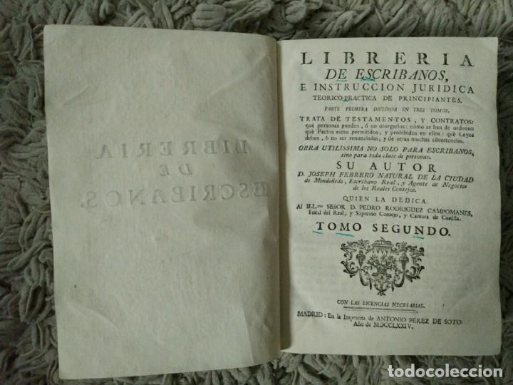 Libros antiguos: Librería de Escribanos. Tomo II. En Pergamino. 1774 Joseph Febrero - Foto 2 - 106773387