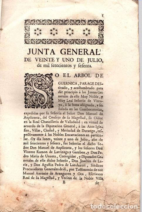 Libros antiguos: ACUERDOS DE JUNTAS GENERALES DE ESTE M.N. Y M.L. SEÑORIO DE VIZCAYA CELEBRADOS EN GUERNICA. 1760 - Foto 2 - 108041770