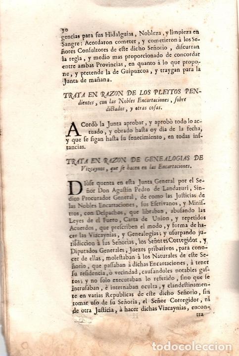 Libros antiguos: ACUERDOS DE JUNTAS GENERALES DE ESTE M.N. Y M.L. SEÑORIO DE VIZCAYA CELEBRADOS EN GUERNICA. 1760 - Foto 3 - 108041770