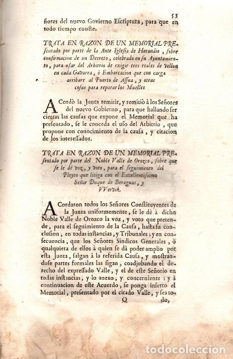 Libros antiguos: ACUERDOS DE JUNTAS GENERALES DE ESTE M.N. Y M.L. SEÑORIO DE VIZCAYA CELEBRADOS EN GUERNICA. 1760 - Foto 4 - 108041770