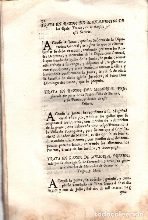 Libros antiguos: ACUERDOS DE JUNTAS GENERALES DE ESTE M.N. Y M.L. SEÑORIO DE VIZCAYA CELEBRADOS EN GUERNICA. 1760 - Foto 5 - 108041770