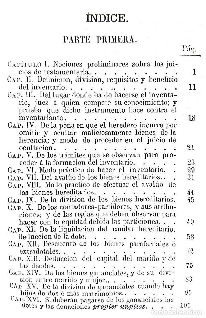 Libros antiguos: MANUAL TEÓRICO-PRÁCTICO DE LOS JUICIOS DE INVENTARIO // EUGENIO DE TAPIA // ((1872)) - Foto 3 - 108771575
