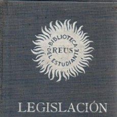 Libros antiguos: LEGISLACIÓN HIPOTECARIA. PRIMERA EDICIÓN. BIBLIOTECA REUS DEL ESTUDIANTE. EDITORIAL REUS, S.A. 1934.. Lote 110017919