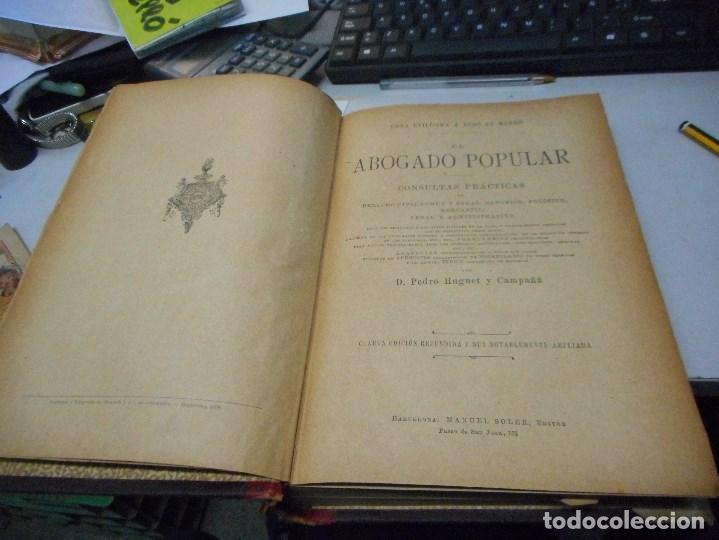 Libros antiguos: libro 1898 el abogado popular tomo 1 - Foto 2 - 110025751