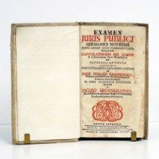 Libros antiguos: JACOBO BRUNNEMANNO. EXAMEN IURIS PUBLICI GERMANICI NOVISSIMI JUXTA IMPERII LEGES FUNDAMENTALES. 1714. Lote 111089711