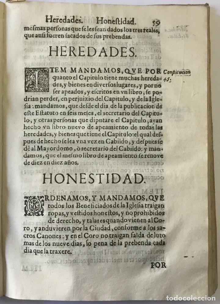 Libros antiguos: COMPENDIO DE LOS ESTATUTOS DE ESTA SANTA IGLESIA METROPOLITANA DE BURGOS, HECHOS EL AÑO DE MIL Y QUI - Foto 3 - 112436459