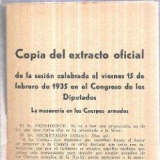 Libros antiguos: COPIA DEL EXTRACTO OFICIAL. DE LA SESION CELEBRADA EL VIERNES 15 DE FEBRERO 1935. FALTA PORTADA.. Lote 112606127