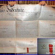 Libros antiguos: MANUSCRITO EN PERGAMINO. BRISTOL. AÑO 1863. CON 4 SELLOS LACRADOS EN VERTICAL. 75 X 54 CM.. Lote 112721179
