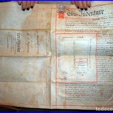 Libros antiguos: ANTIGUO MANUSCRITO INGLÉS EN PERGAMINO DE 50 X 38 CM CON 5 SELLOS ROJOS LACRADOS.. Lote 112931839