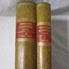 Libros antiguos: REPERTORIO DE JURISPRUDENCIA CIVIL 1922-1925. FECHA DE EDICIÓN: 1924-1928. DOS TOMOS. Lote 113620503