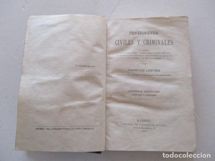Libros antiguos: FRANCISCO LASTRES. Procedimientos Civiles y Criminales. RM85793. - Foto 2 - 113667807