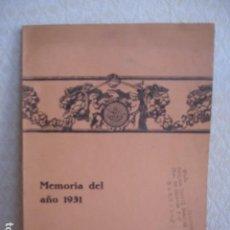 Libros antiguos: COLEGIO OFICIAL DE AGENTES COMERCIALES DE BARCELONA. MEMORIA DEL AÑO 1931. Lote 114049779
