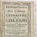 Libros antiguos: REPRESENTACION A LA REAL AUDIENCIA DE CATHALUÑA POR EL COLEGIO DE NOTARIOS PUBLICOS REALES... 1723.. Lote 114799502