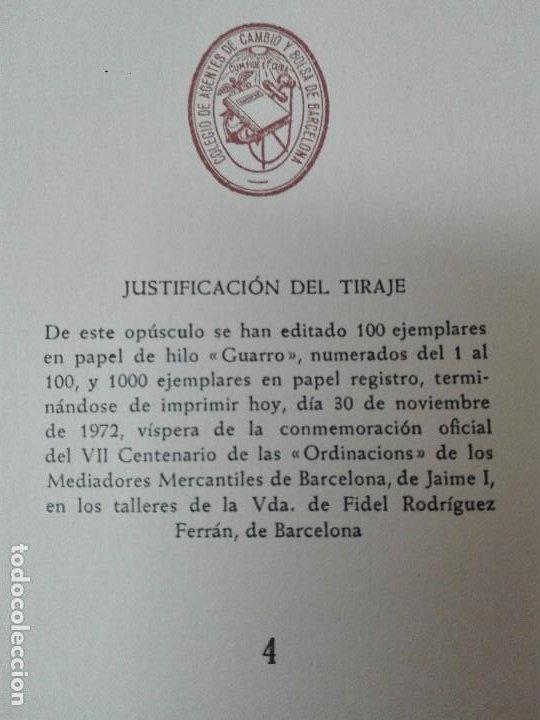 Libros antiguos: Ordinacions de los mediadores mercantiles de Barcelona tirada numerada de 100 ejemplares pergamino - Foto 4 - 114962423