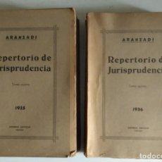 Libros antiguos: LV 27 ARANZADI REPERTORIO DE JURISPRUDENCIA TOMOS IV Y V - AÑOS 1935 Y 1936. Lote 115510639