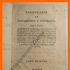 Libros antiguos: PRONTUARIO DE TESTAMENTOS Y CONTRATOS - JUAN MANUEL LOPEZ FANDO. Lote 116434335