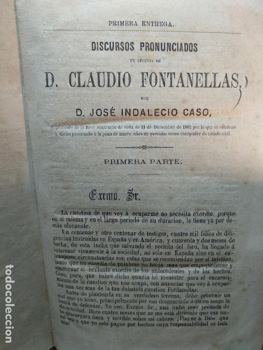 Libros antiguos: DISCURSOS PRONUNCIADOS EN DEFENSA DE D. CLAUDIO FONTANELLAS - D. JOSÉ INDALECIO CASO - CIRCA 1860 - - Foto 3 - 116902107