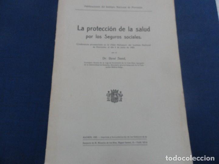 LA PROTECCIÓN DE LA SALUD POR LOS SEGUROS SOCIALES -RENÉ SAND INSTITUTO NACIONAL DE PREVISIÓN 1933 (Libros Antiguos, Raros y Curiosos - Ciencias, Manuales y Oficios - Derecho, Economía y Comercio)