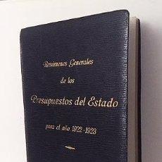 Libros antiguos: PRESUPUESTOS DEL ESTADO PARA EL AÑO 1922-1923. (MINISTERIO DE HACIENDA. ECONOMIA. Lote 117211275