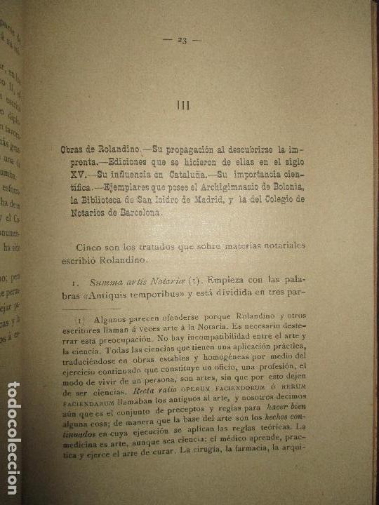 Libros antiguos: ESTUDIOS HISTÓRICO FILOSÓFICOS SOBRE EL NOTARIADO. ROLANDINO Y SUS OBRAS.FALGUERA, Félix María. 1894 - Foto 8 - 118151479