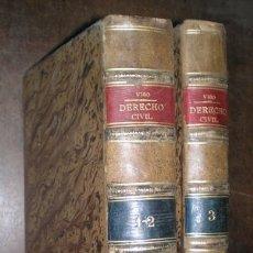 Libros antiguos: VISO, SALVADOR DEL: LECCIONES ELEMENTALES DE DERECHO CIVIL. 3 TOMOS EN 2 VOLS. PLENA PIEL. Lote 43216188