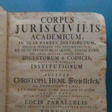 Libros antiguos: LIBRO CORPUS JURIS CIVILIS ACADEMICUM. CHRISTOPH HENR. FREIESLEBEN. TOMO II.JUSTINIANI CODICIS.1789. Lote 119409583