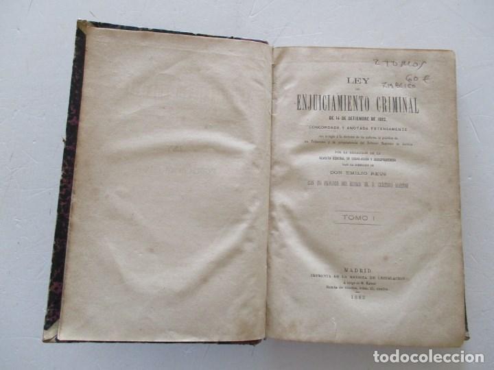 Libros antiguos: VV. AA. Ley de Enjuiciamiento Criminal de 14 de Setiembre de 1882. Tomos I y II. DOS TOMOS. RM86160 - Foto 2 - 119976267