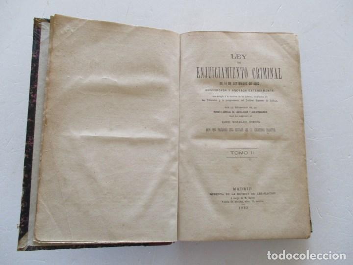 Libros antiguos: VV. AA. Ley de Enjuiciamiento Criminal de 14 de Setiembre de 1882. Tomos I y II. DOS TOMOS. RM86160 - Foto 9 - 119976267