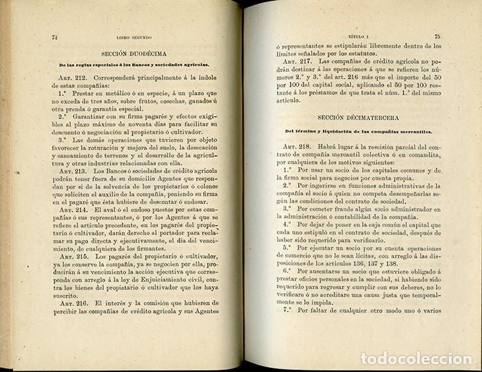 Libros antiguos: CÓDIGO DE COMERCIO PARA LAS ISLAS FILIPINAS Y DEMÁS ARCHIPIÉLAGOS ESPAÑOLES DE OCEANÍA - Foto 5 - 120927175