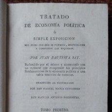 Libros antiguos: TRATADO DE ECONOMIA POLITICA - TOMO I - JUAN BAUTISTA SAY - 1816. Lote 122178111