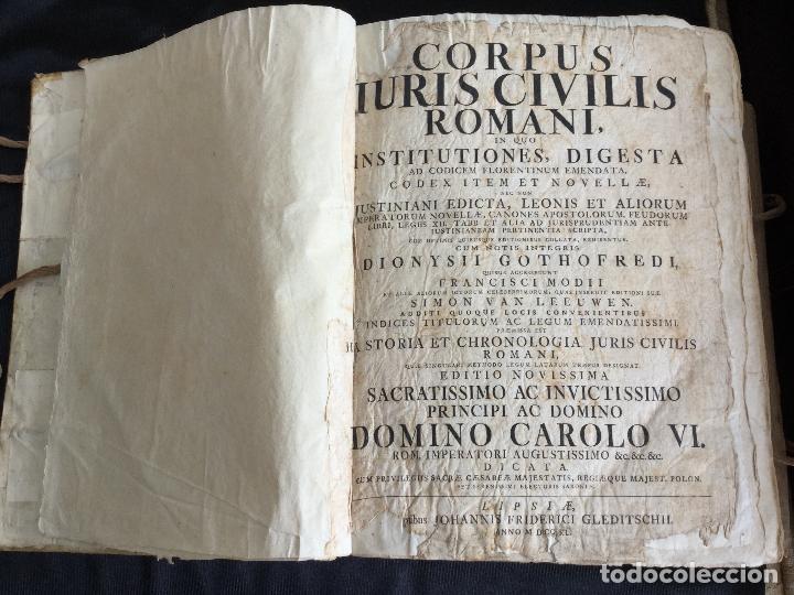 Libros antiguos: Corpus Iuris Civilis Romani, Carolus VI Romanorum Imperator Semper Augusto,1740 - Foto 2 - 122574423