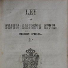 Libros antiguos: LEY DE ENJUICIAMIENTO CIVIL. - MADRID, 1855.. Lote 123146860