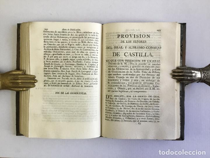 Libros antiguos: ORDENANZAS DE LA ILUSTRE UNIVERSIDAD, Y CASA DE CONTRATACION DE LA M. M. Y M. L. VILLA DE BILBAO... - Foto 8 - 123148815