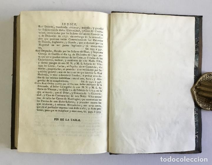 Libros antiguos: ORDENANZAS DE LA ILUSTRE UNIVERSIDAD, Y CASA DE CONTRATACION DE LA M. M. Y M. L. VILLA DE BILBAO... - Foto 9 - 123148815