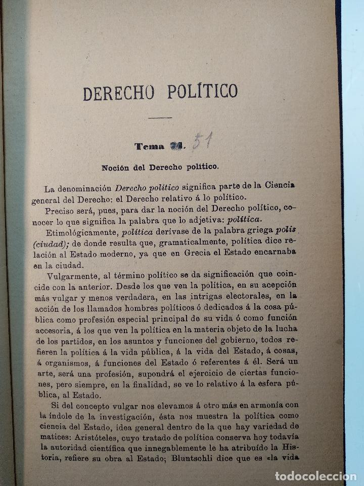 Libros antiguos: OPOSICIONES AL CUERPO DE ASPIRANTES A LA JUDICATURA Y MINISTERIO FISCAL - D. JOSÉ GASCÓN Y MARÍN - - Foto 4 - 125909639